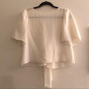 Club Monaco Puff sleeve silk top ruffles S XS
